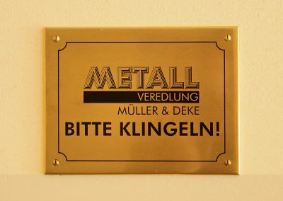 Metallschild | Messing | Lasergravur